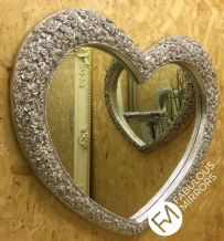 X Large Bright Silver Chrome Heart Mirror Stunning Ornate Elegant Mirror *NEW*